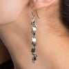 METAL Squares Long Chain Earrings