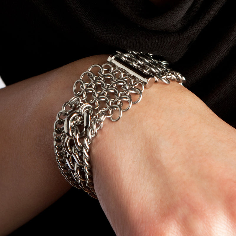 METAL 4-Row Chunky Multi-Chain Bracelet