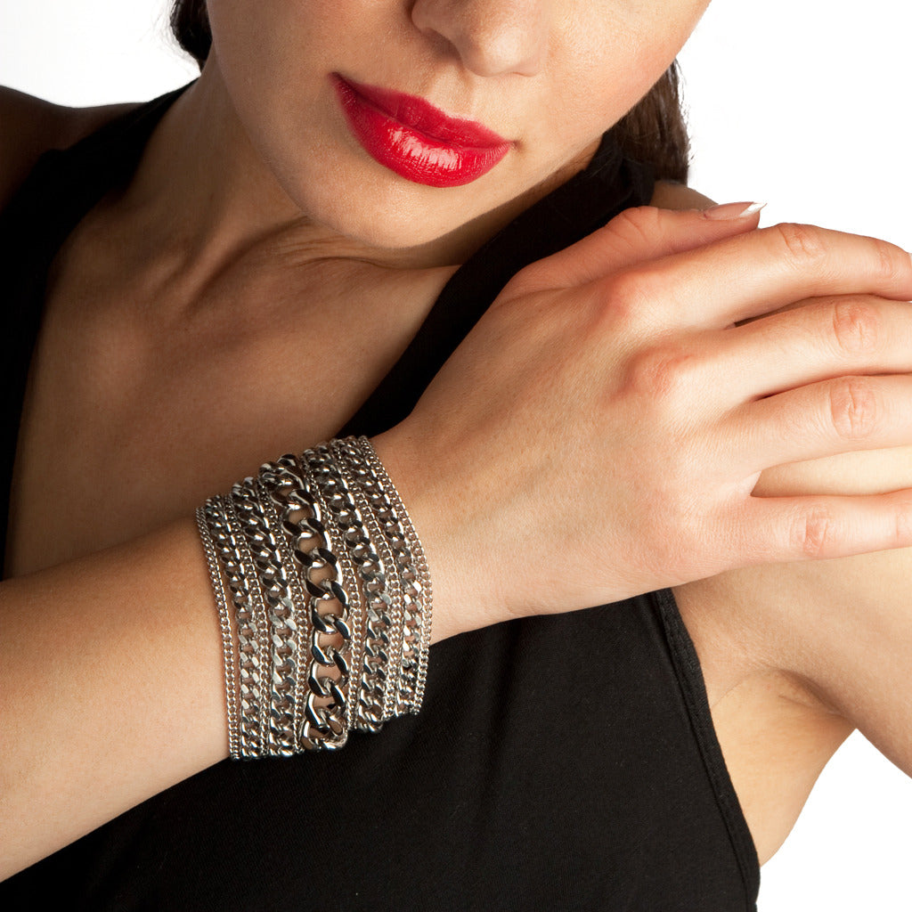 METAL 7-Row Chunky Multi-Chain Cuff Bracelet