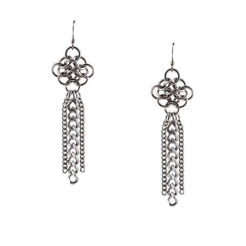 METAL Rosette & Tassel Earrings