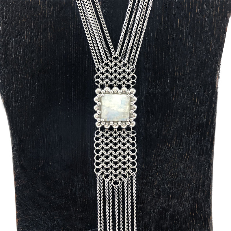 GEMSTONE Long Moonstone Necklace with Fringe