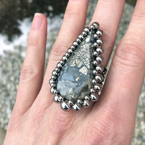 GEMSTONE Nipomo Marcasite Teardrop Ring