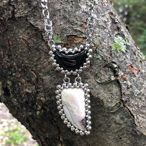 GEMSTONE Black Onyx & Mexican Agate Necklace