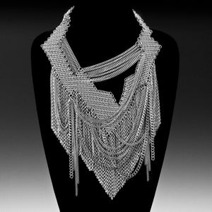 ONE OF A KIND Zig-Zag Drape & Fringe Necklace