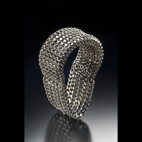 ONE OF A KIND Solid Cuff Bracelet With Draping Chain