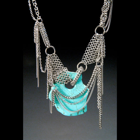 ONE OF A KIND Turquoise Couture Neckpiece
