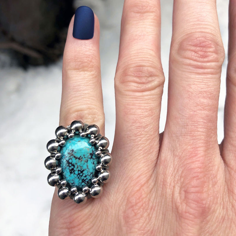 GEMSTONE Oval Turquoise Ring: Size 6