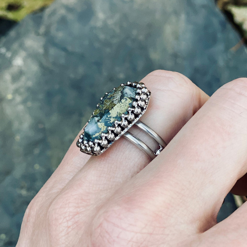 GEMSTONE Pyrite Coffin Ring: Size 8.5