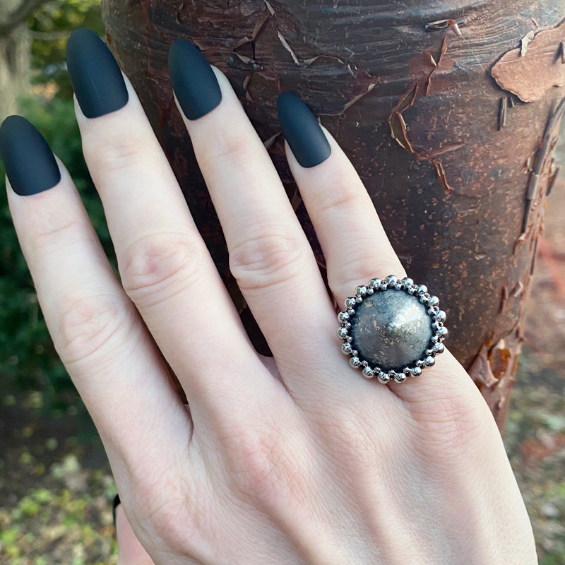 GEMSTONE Pyrite Cone Ring: Size 5.75-6
