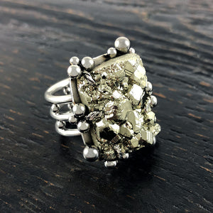 GEMSTONE Prong Set Chunky Pyrite Ring