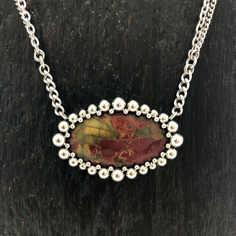 GEMSTONE Red Creek Jasper Oval Pendant