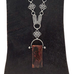 GEMSTONE Rectangular Red Creek Jasper Pendant