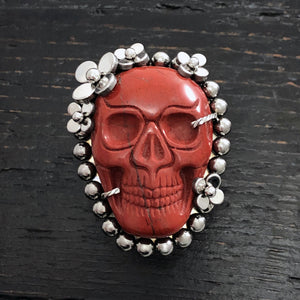 GEMSTONE Red Jasper Skull Ring