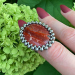 GEMSTONE Oval Red Jasper Ring: Size 6.5