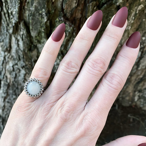 GEMSTONE Small White Chalcedony Round Ring: Size 6