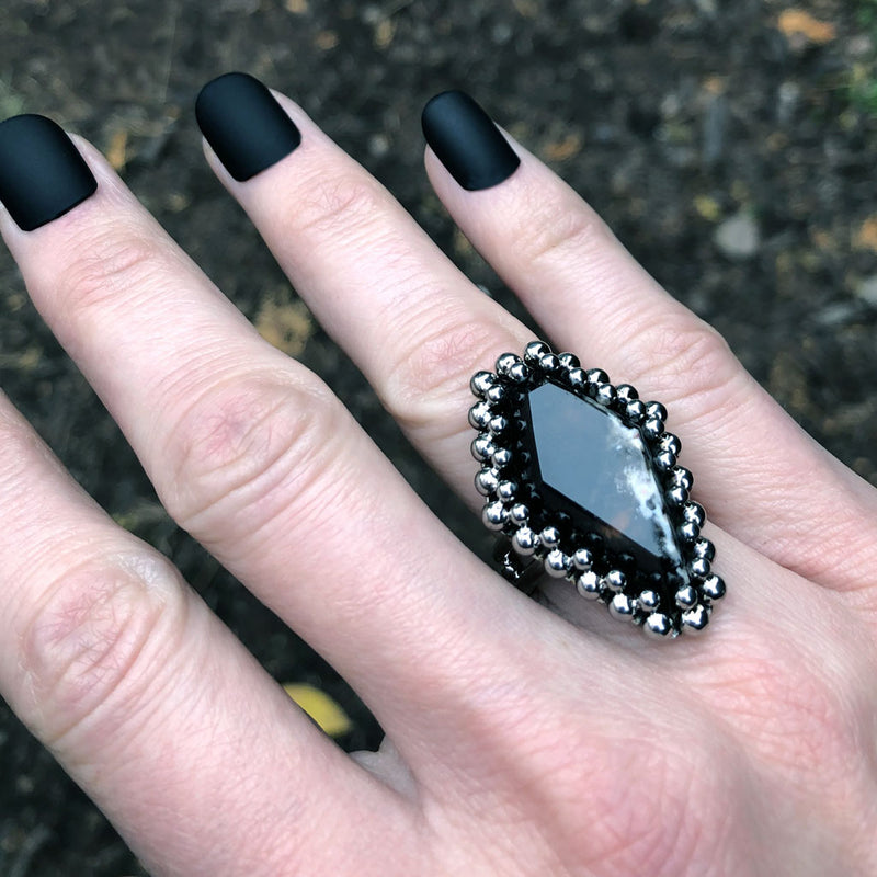 GEMSTONE Black Widow Agate Coffin Ring: Size 8