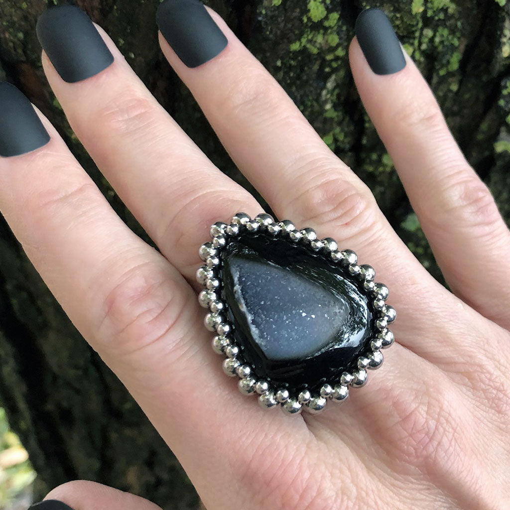 GEMSTONE Black Agate Druzy Ring: Size 9.5