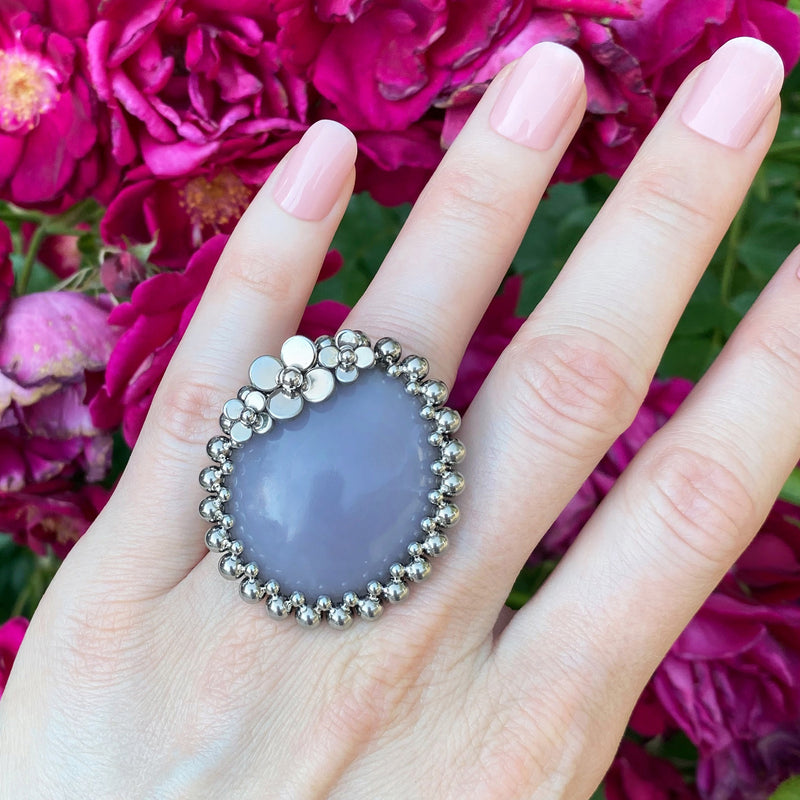 GEMSTONE Large Lepidolite Ring with Flowers: Size 8