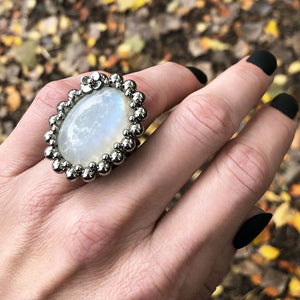 GEMSTONE Large Oval Moonstone Ring with Flower: Size 7.5-7.75