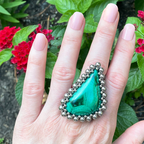 GEMSTONE Abstract Malachite Ring: Size 9.25-9.5