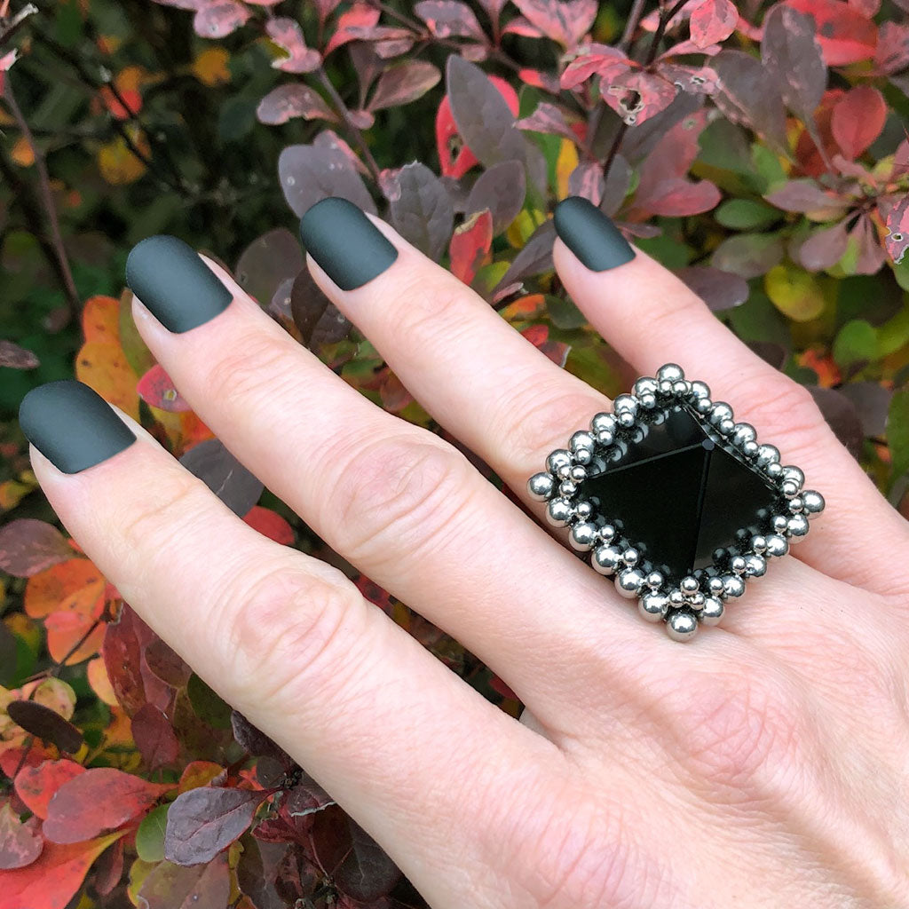 GEMSTONE Black Onyx Pyramid Ring: Size 7.5-7.75