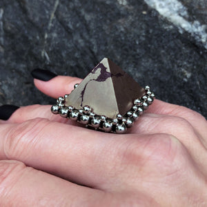 GEMSTONE Pyrite Pyramid Ring: Size 8.25-8.5