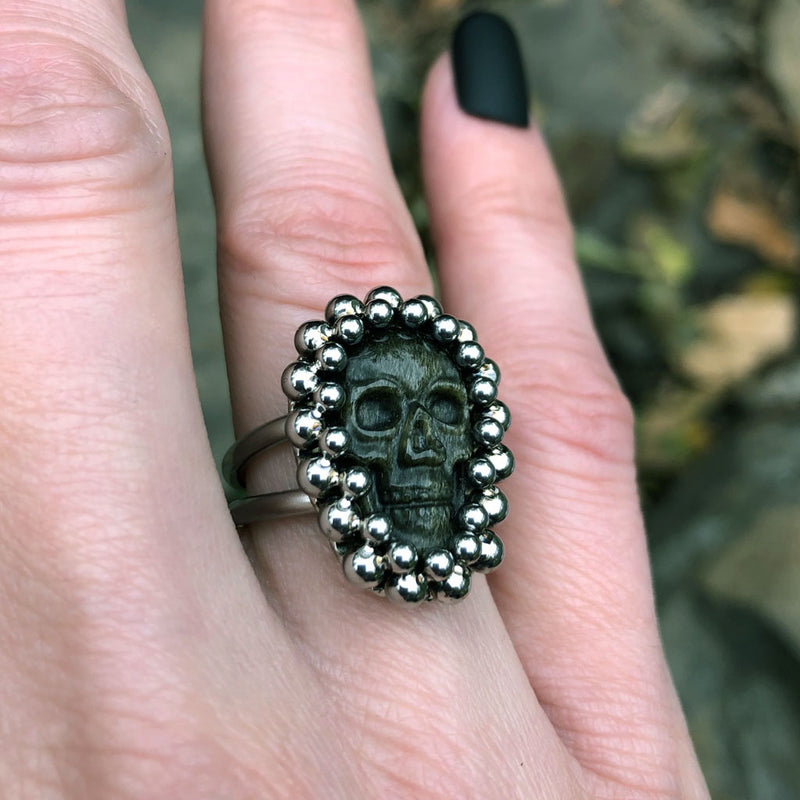 GEMSTONE Small Gold Sheen Obsidian Skull Ring: Size 7