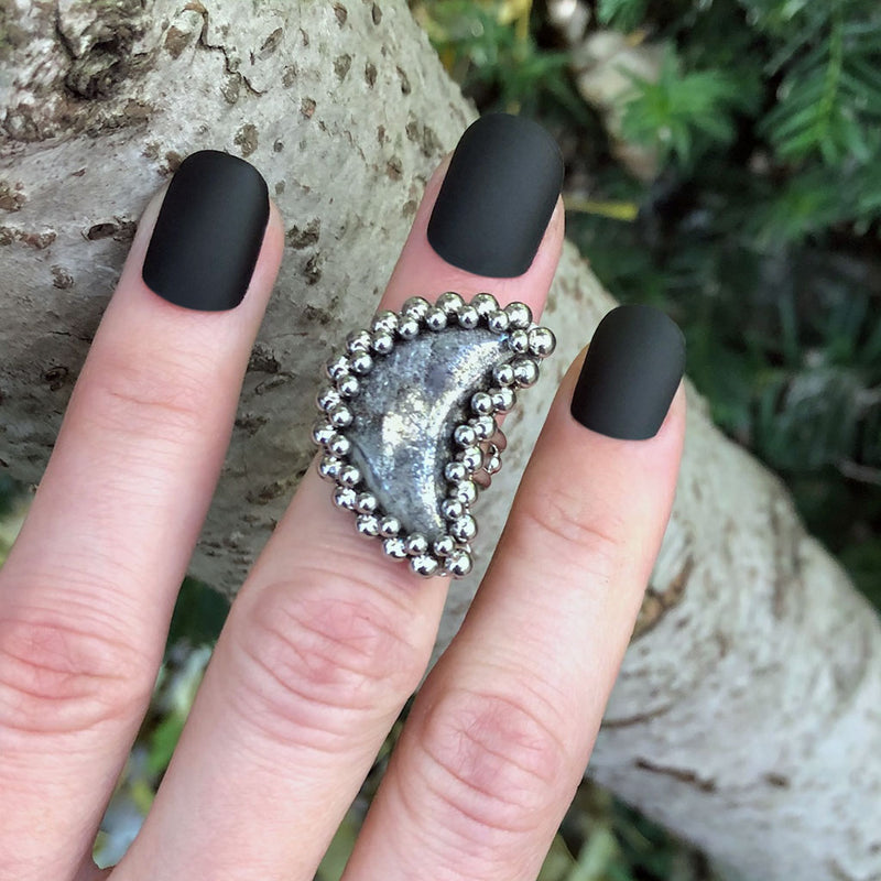 GEMSTONE White Pyrite Moon Ring: Size 5