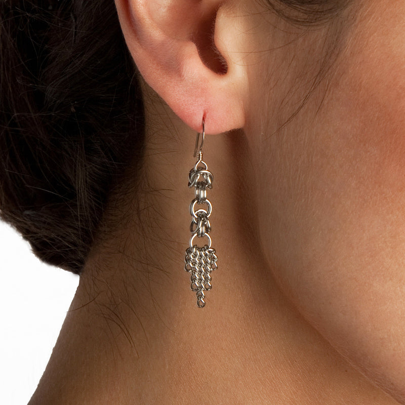 SLINKY Box & Tapered Chain Earrings
