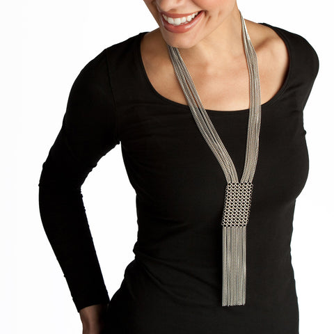 SLINKY Panel & Fringe Necklace