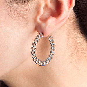 STRUCTURE Medium Chain Hoop Earrings