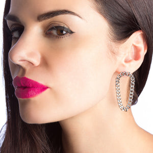 STRUCTURE Oval Chain Hoop Earrings