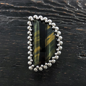 GEMSTONE Tiger's Eye Half Moon Ring