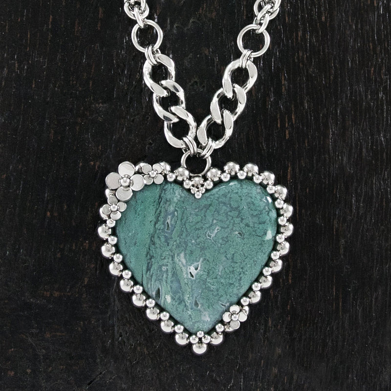 GEMSTONE Chrome Chalcedony Heart Pendant