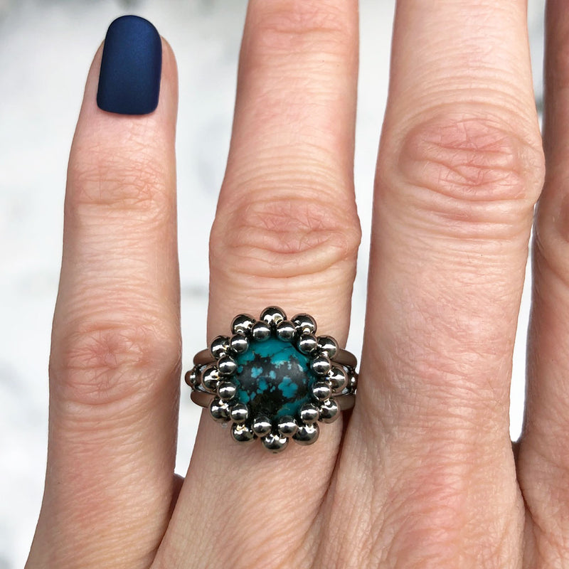 GEMSTONE Small Round Turquoise Ring