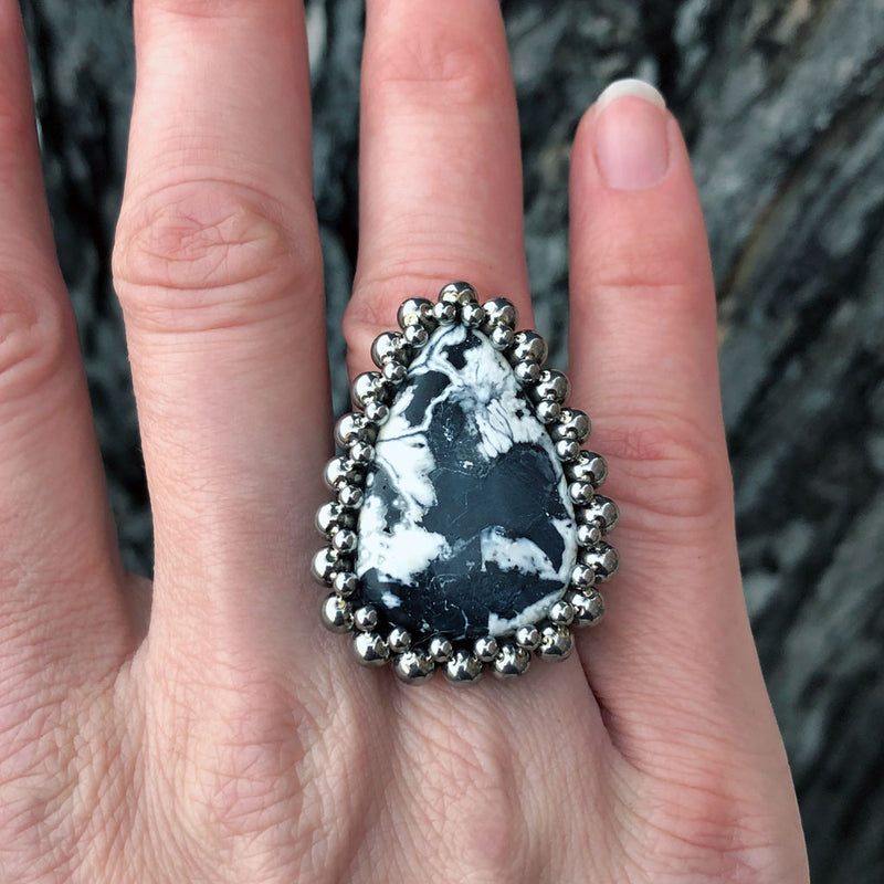 GEMSTONE White Buffalo Turquoise Ring