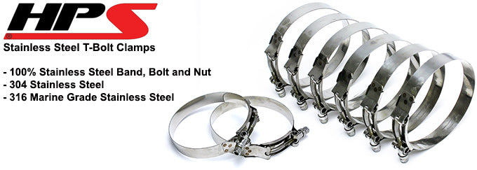 6x HPS 3.93-4.25 Marine 316 Stainless Steel T-Bolt Hose Clamp 3-3//4 100mm-108mm Hose ID 95mm