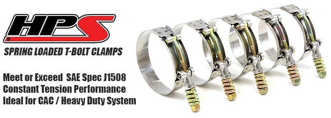 HPS Stainless Steel Spring Loaded T Bolt Hose Clamps 304 Diesel Heavy Duty Silicone Air Intake Turbo