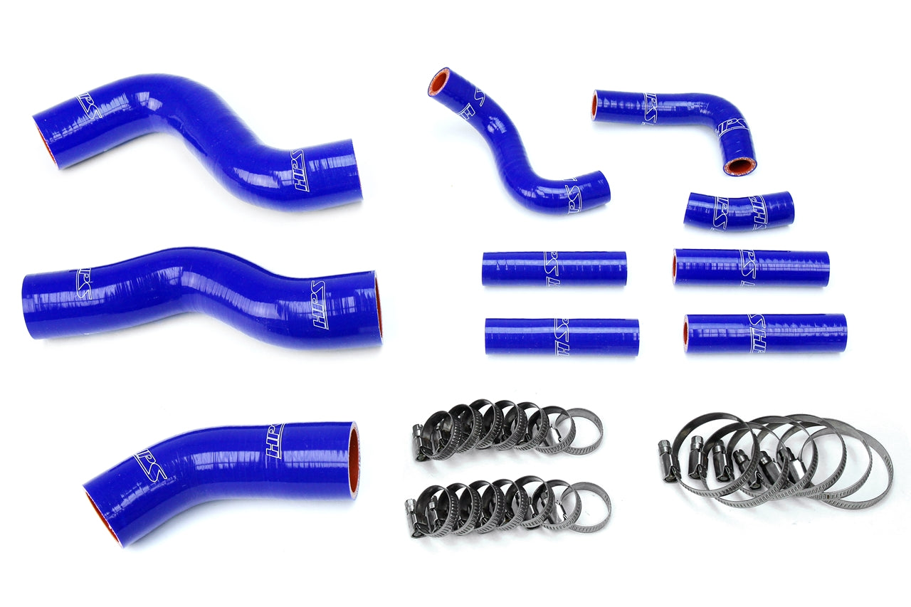 HPS Blue Reinforced Silicone Radiator + Pesky Heater Hose Kit 1FZ-FE Toyota 92-97 Land Cruiser FJ80 4.5L I6 without rear heater 57-1441-BLUE