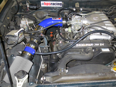 HPS Performance Shortram Air Intake Kit Installed 1996-1998 Toyota 4Runner 3.4L V6 827-507BL