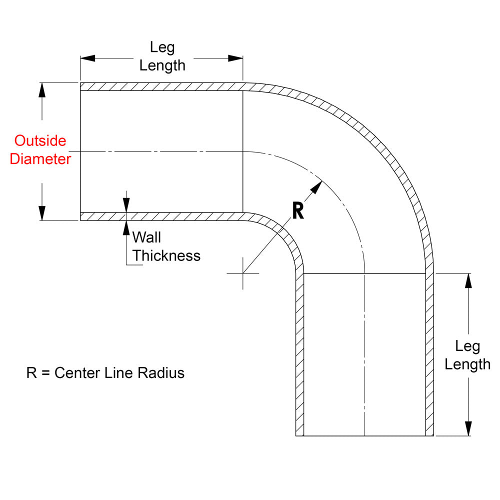 0.065 Wall Thickness HPS AT90-238-CLR-312 6061 T6 Aluminum Elbow Pipe Tubing 3 1//8 Center Line Radius 16 Gauge 90 Degree Bend 2 3//8 OD