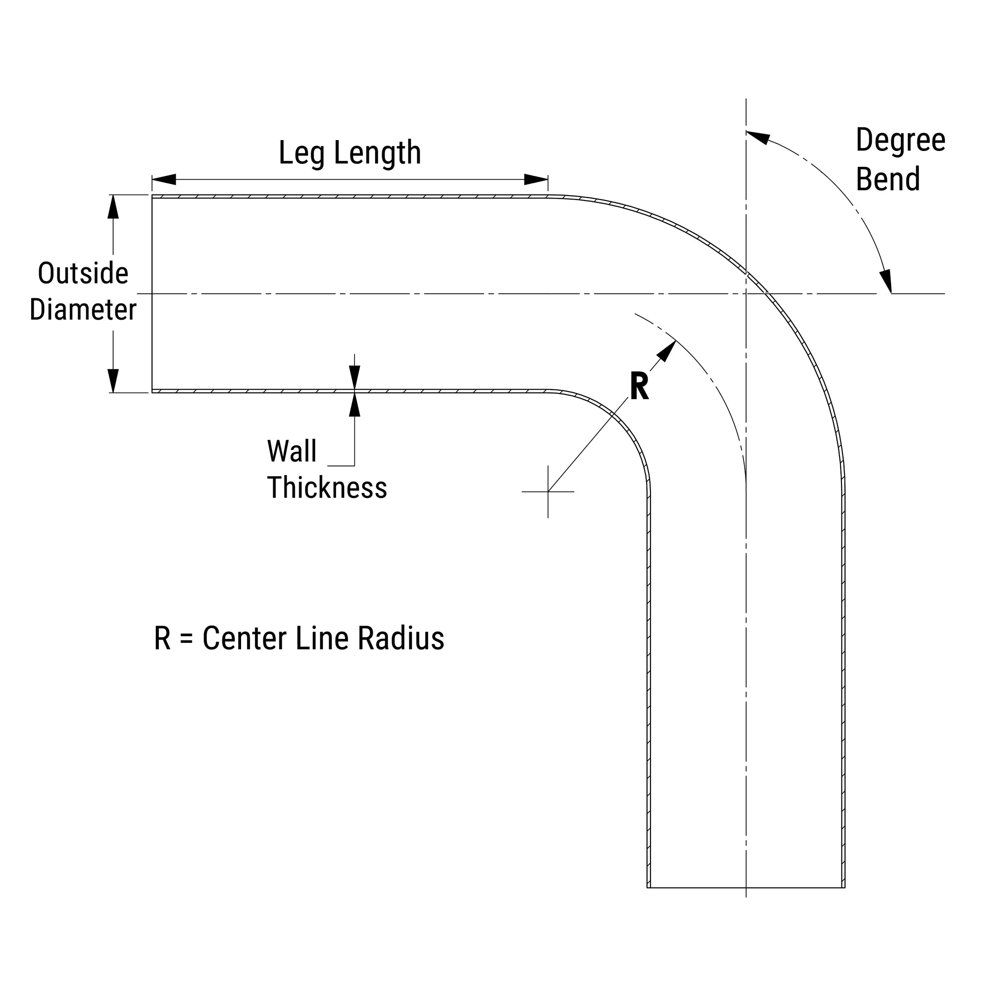 4.5 OD 6 Center Line Radius 0.079 Wall Thickness HPS AT90-450-CLR-6 6061 T6 Aluminum Elbow Pipe Tubing 90 Degree Bend 12 Gauge