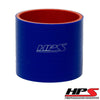 HPS 3 inch ID 4 inch Long Blue Silicone Straight Coupler Hose High Temp 4-ply Reinforced 76mm HTSC-300-L4-BLUE