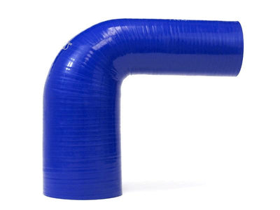 HPS 2-3/4 - 4 inch 2.75 ID Blue Silicone 90 Degree Elbow Reducer Hose High Temp 4-ply Reinforced 70mm 102mm HTSER90-275-400-BLUE