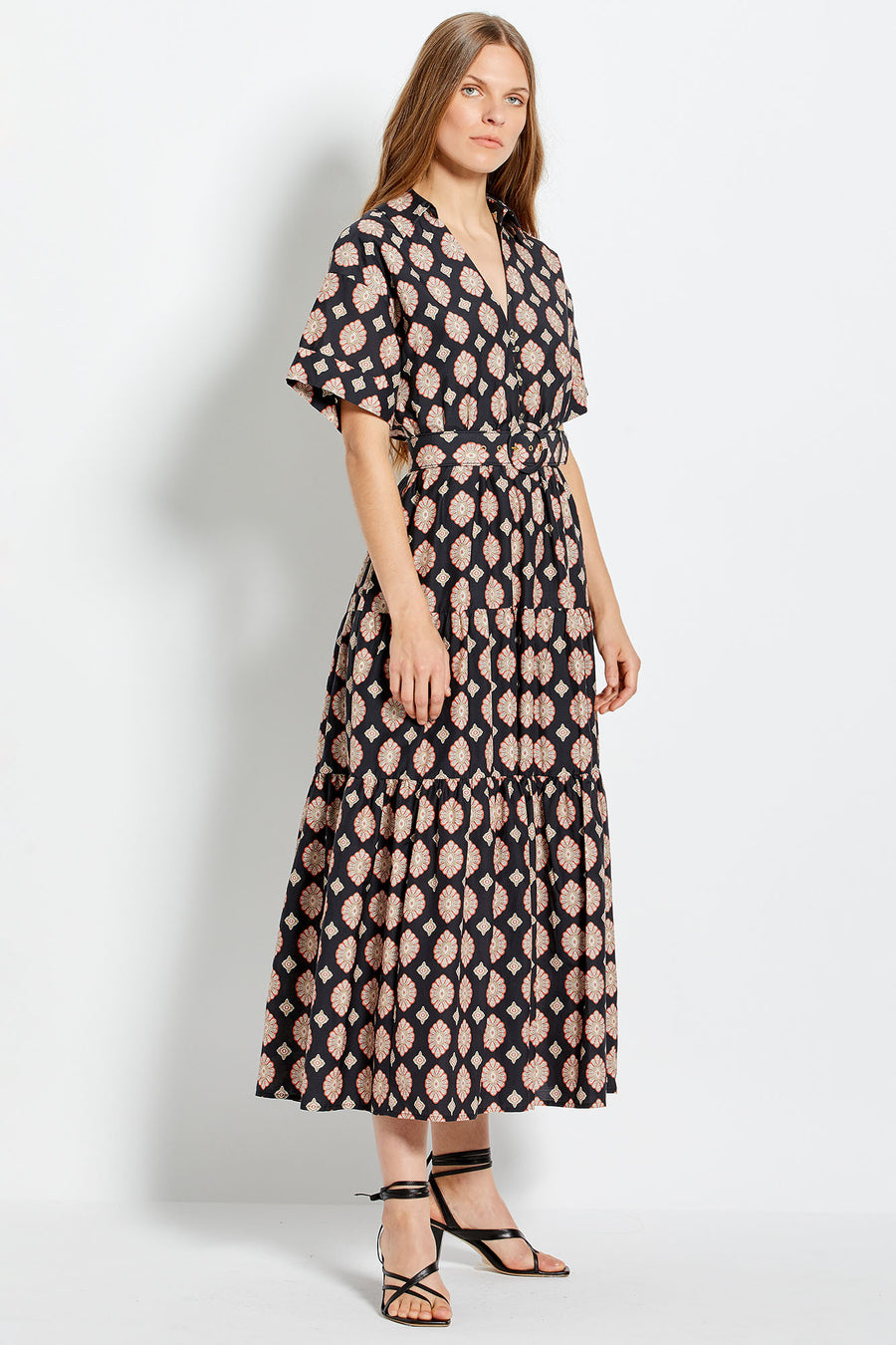 Amina Dress - Casablanca Tile  - Black