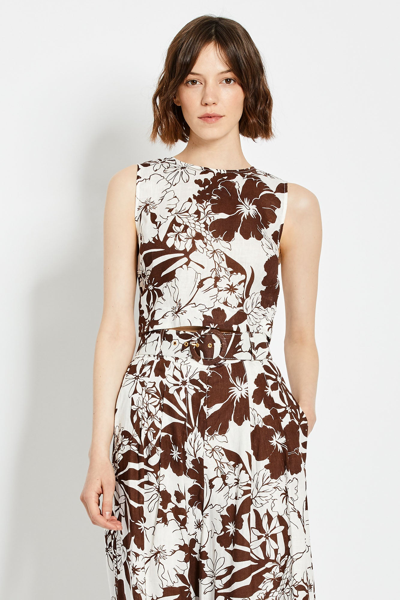 Alyssa Top - Mocha Two Tone Floral