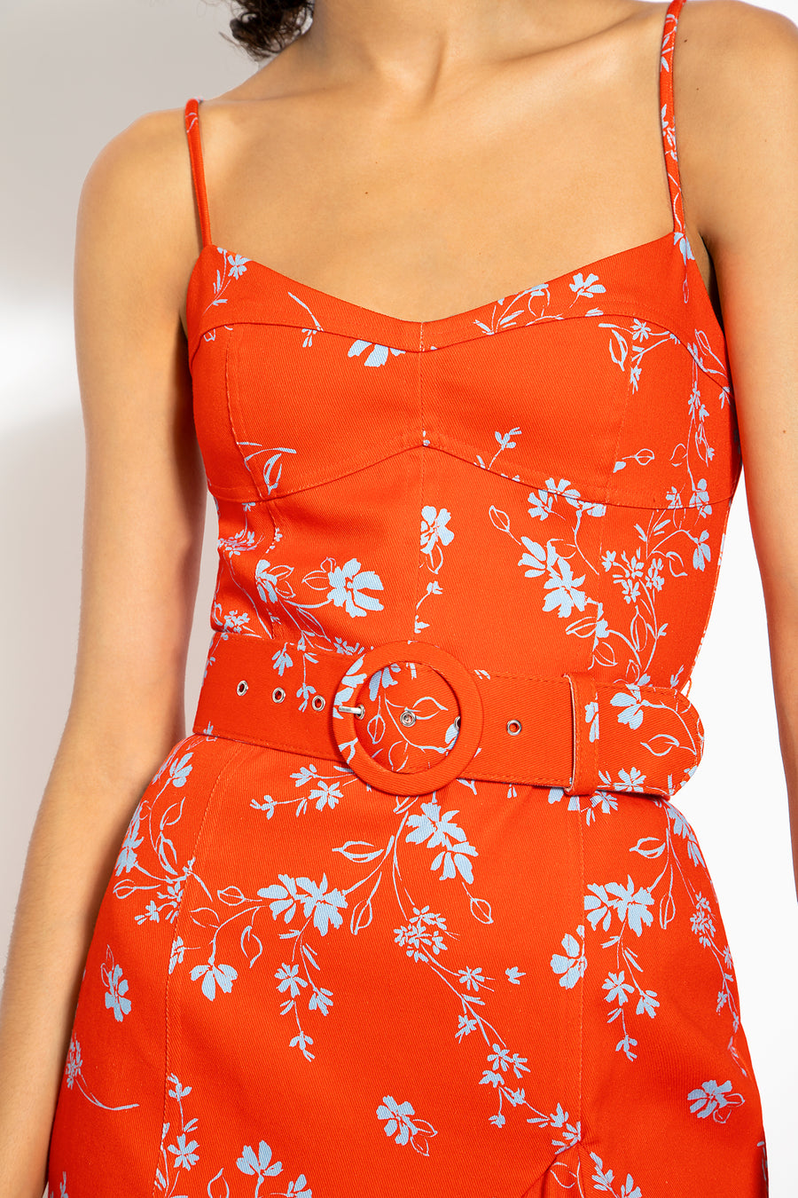 NICHOLAS Arielle Dress in Poppy Red Close Up 02