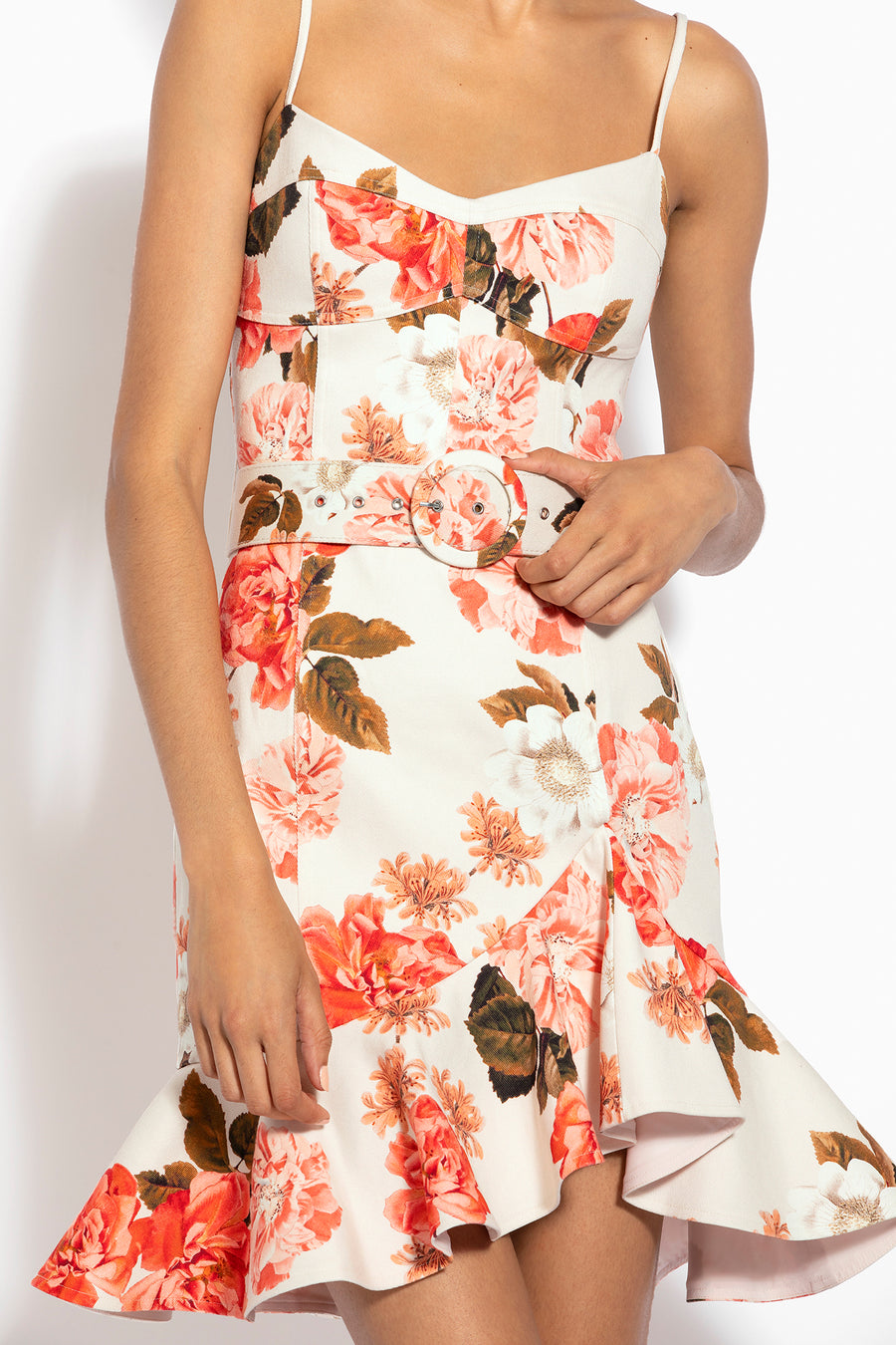 Arielle Floral Frill Dress - Powder Multi