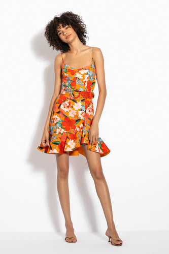 Arielle Floral Frill Dress - Tangerine Multi