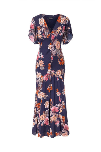 Navy Rust Floral Layered Pintuck Dress - Navy